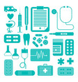 set simple medical icons vector image