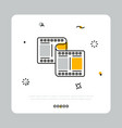 simple icon of filmstrip in white square vector image vector image