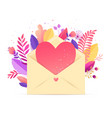 spring floral heart bouquet in envelope vector image vector image