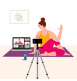 stay home concept online yoga with instructor vector image