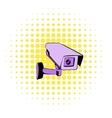 Surveillance camera icon comics style vector image