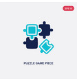 two color puzzle game piece icon from business vector image vector image