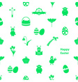 various Easter icons seamless white and green vector image vector image