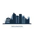 wellington skyline monochrome silhouette vector image vector image