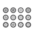 Wheel tyre and tire collection of icons vector image vector image