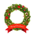 xmas fur tree wreath vector image vector image