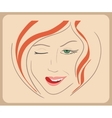 Handdrawn woman face winks with red hair and green vector image