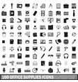 100 office supplies icons set simple style vector image vector image