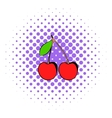 A couple of red cherries icon comics style vector image vector image