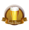 A fresh beer label with a glass of cold beer vector image vector image