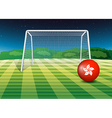 a soccer ball at field with flag of vector image vector image