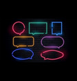 attractive neon chat bubbles set in many colors vector image
