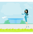 Beautiful stewardess with ticket on airport vector image