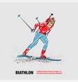 biathlon man linear silhouette skiing vector image