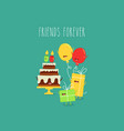 birthday cake balloons friends forever vector image