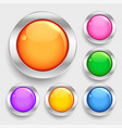 bright glossy shiny circles round buttons set vector image vector image
