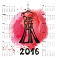 Calendar 2016 yearLetteringDress Silhouette vector image