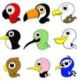 Cartoon Birds Icon Set vector image vector image