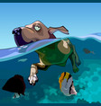 cartoon dog swims in the sea with fishes vector image vector image