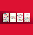 christmas new year vintage holiday icon card set vector image