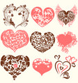 collection of abstract valentines day hearts vector image