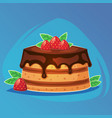 colorful tasty cake bakery dessert with chocolate vector image