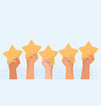 five raised arms holding stars costumer vector image