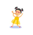 flat girl kid in funny glasses whistling vector image vector image