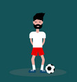 flat guy boy footballer on green background vector image vector image