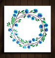 frame with flowers blue vector image