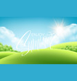 frash green grass landscape background with vector image vector image