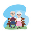 grandparent seated in the chair with glasses and vector image vector image