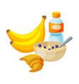healthy breakfast bananas plastic bottle of vector image