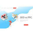 isometric flat landing page template of seo vector image vector image