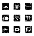 Journey to sea icons set grunge style vector image vector image