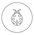 ladybird black icon outline in circle image vector image