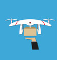 man get a gift from drone delivery design vector image vector image