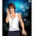 Man headphones music vector image vector image