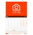 may 2019 wall calendar for 2019 year design print vector image