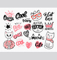 notebook with cat stickers for children and text vector image vector image