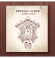 Old retro cuckoo clock card vector image vector image