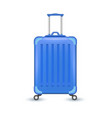 realistic blue travel suitcase bag vacation vector image vector image