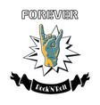 rock and roll forever proclaiming symbol poster vector image vector image