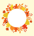 round autumnal frame with leaves mushrooms vector image vector image