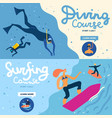 sea activities banners set vector image vector image