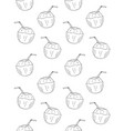 seamless pattern sketch young coconut vector image vector image