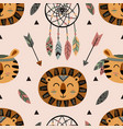 seamless pattern with tribal lion and tiger vector image vector image