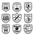 set back to school labels with bus vector image vector image