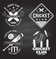 set cricket club badges on chalkboard vector image