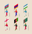set of isometric people with flags of middle east vector image vector image